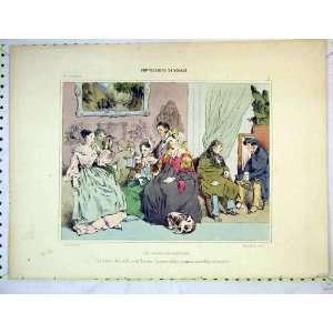 Antique Colour Print Men Women Romance Fashion Dress