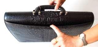 100% GENUINE CROCODILE LEATHER BRIEFCASE LARGE BAG SHINY BLACK ~ MCROC