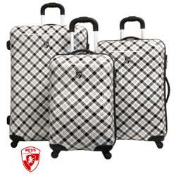 Heys USA Exotic Plaid 3 piece Hardside Spinner Luggage Set