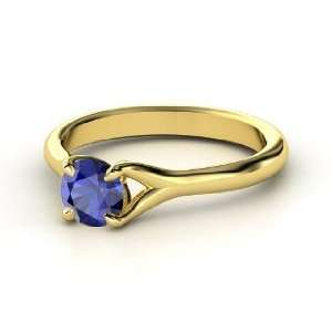 Cynthia Ring, Round Sapphire 14K Yellow Gold Ring Jewelry