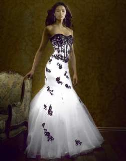 2011 New White/Black Flower Wedding Dress customSize6 8