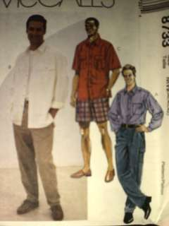 UNCUT McCalls Pattern Mens Shirt Pants Shorts 8733 OOP