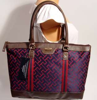 NEW Tommy Hilfiger TH Logo Red / Blue Handbag Hobo Tote Bag Purse L
