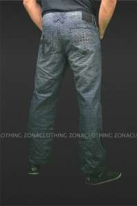 Xtreme Couture Designer Black Studded Cross Denim Jeans Relaxed