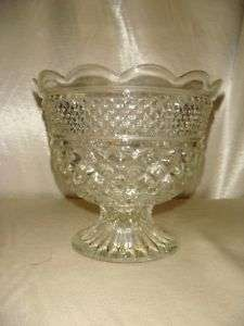 Vintage Pressed Glass Pedestal Bowl Vase Decorative