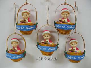Baby Boy First Christmas Ornaments Santa Suit Basket