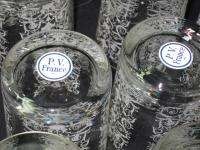 FRENCH BACCARAT ART GLASS FLORAL ETCHED TUMBLER ROCKS GLASSES