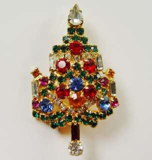 Warner Candle Prong Set Rhinestone Vintage Christmas Tree Brooch Pin