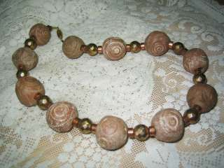LARGE CHUNKY CARVED CLAY BEAD NECKLACE VINTAGE