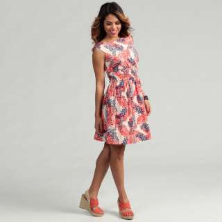 Jessica Simpson Womens Red Floral Print Dress