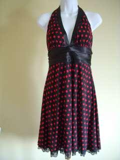 Black & Red Polka Dot Halter Cocktail Evening Dress Size M