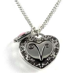 Gorgeous Initial Letter V Heart Locket Necklace Silver