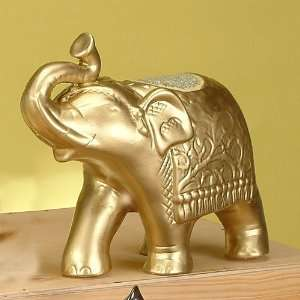 Gold Walking Glass Mosaic Elephant Statue Figurine