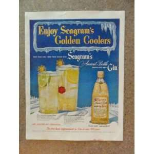 Seagrams Ancient Bottle Gin, Vintage 50s full page print