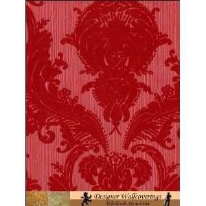 Victorian Flocked Velvet Wallpaper   Red on Red/Gray
