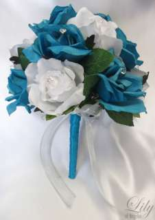 17 pieces Wedding Bridal Round Bouquet Flower TURQUOISE