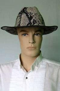 Snake Skin Print Mens Cowboy Hat Large New Tan Black