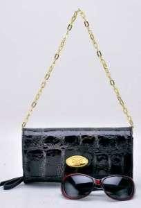 NEW BLACK Patent Croco Evening Bag Clutch Wallet Purse