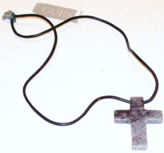 GUESS MENS STONE CROSS AND LEATHER CORD NECKLACE