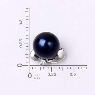 18K Solid Gold 7.5mm Diamond Akoya Pearl Stud Earrings