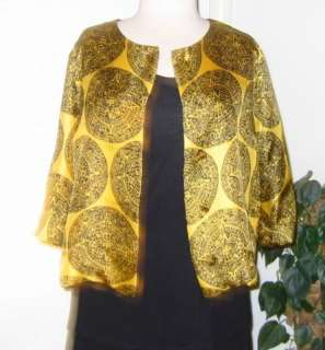 is for a Stunning, Gold Silk Jacket with a Beautiful, Round, Black