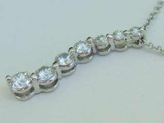 Stunning 14k. White Gold Diamond Journey Pendant, New