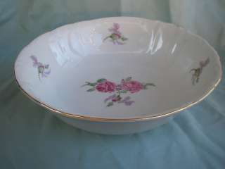 Fine Bohemian China Czechoslovakia Roses Serving Vegetable Bowl 10