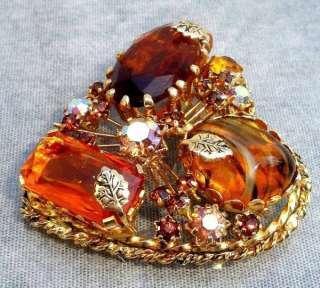 Citrine Glass & AB Rhinestone Heart Shaped Brooch Made in Austria