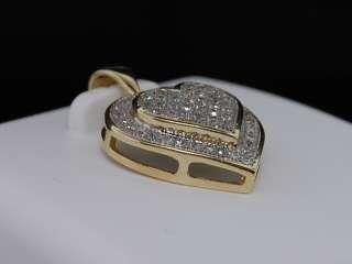 LADIES YELLOW GOLD DIAMOND HEART LOVE PENDANT CHARM