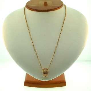 BULGARI 18K YELLOW GOLD DIAMOND RING CHARM ON CHAIN NECKLACE C.1990 1