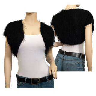 Plus Size Faux Fur Cropped Bolero Shrug Black