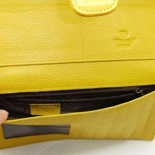 Womens Yellow Real Genuine Leather Bifold Clutch Wallet Purse ID Card