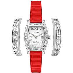 Elini Womens La Petite Full Diamond Red Strap Watch