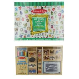 Animal, Alphabet & Numbers   Stamp & Sticker Set Toys