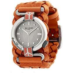 Lucky Brand Womens Orange Leather Watch