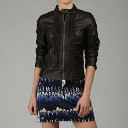 Miss Sixty Womens Ruffle front Faux Leather Jacket