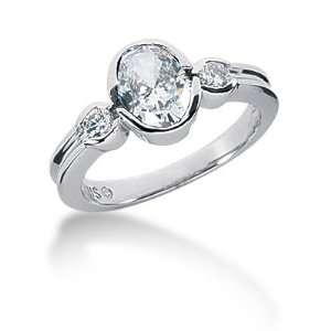 1.45 Ct Diamond Diamond Ring Engagement Oval cut 14k White