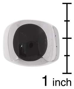 Mens Sterling Silver Black Onyx Circle Ring