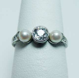 Antique ART DECO Old European Diamond Pearl Ring 14K White Gold Estate