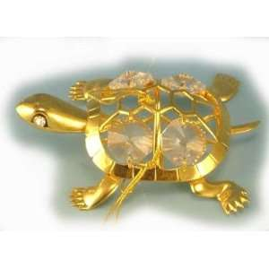 Turtle   Gold & Crystal Ornament