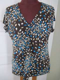 SUSAN LAWRENCE USA Brown Blue Mosaic Blossoms Jersey Shirt XL