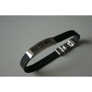 Fashion Rubber Bracelet Ethnic Men Stainless Steel Tag FRIEND, Man