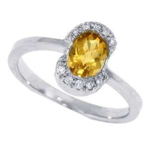 0.85 Ct Oval Citrine Ring with Diamonds in 14Kt White Gold