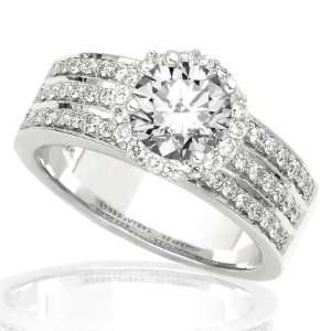 Pave Set Engagement Ring with a 0.82 Carat Round Brilliant