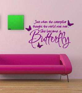 Just When The Caterpillar Butterfly Wall Lettering Art