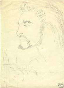 MARCUS BOAS ORIGINAL ART PENCIL SKETCH PORTRAIT 1970s?