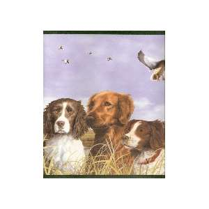HUNTING BIRD DOGS DUCK OFFICE DEN Wallpaper bordeR Wall