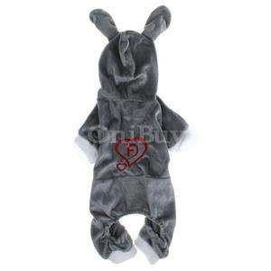 Shipping Plush Hooded Rabbit Coat Clothes Pet Puppy Dog Grey M