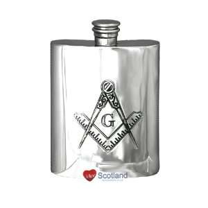 Hip Flask 6oz Pewter Masonic G Square & Compass Kitchen