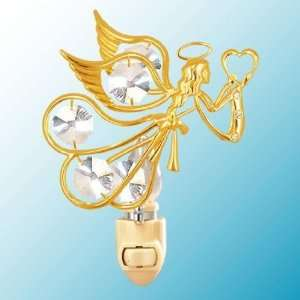 Flying Angel w/Heart 24k Gold/Crystal Night Light